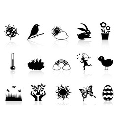 spring icons set vector image vector image