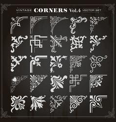 vintage design elements corners and borders set 4 vector image vector image