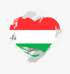 Flag of hungary isolated on grunge heart vector
