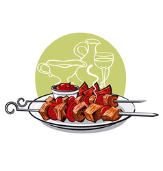 kebab with tomatoes vector image vector image