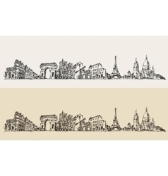 Paris France Vintage Engraved Sketch vector image vector image