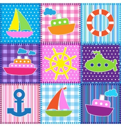 Patchwork in marine style vector image