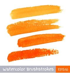Set of orange watercolor brush strokes vector