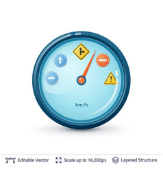 speedometer with road signs vector image