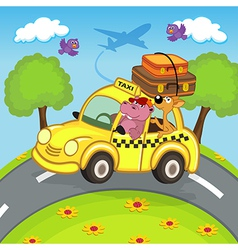 Animals traveling in taxi vector