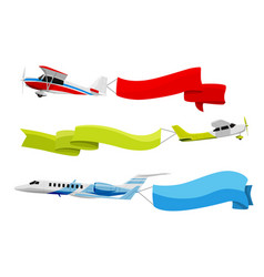 Attached banners to flying airplanes vector