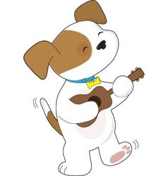 cute puppy ukulele vector image vector image