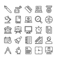 Education line icons 2 vector