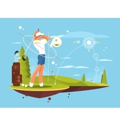 Male golfer playing golf vector image