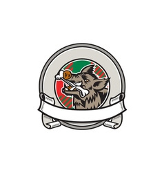 Wild Boar Razorback Bone In Mouth Circle Ribbon vector image vector image