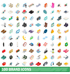 100 brand icons set isometric 3d style vector image