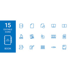 15 book icons vector image