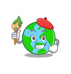Artist world globe character cartoon vector