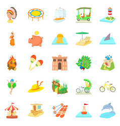 attempt icons set cartoon style vector image