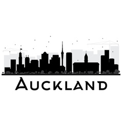 Auckland City skyline black and white silhouette vector image