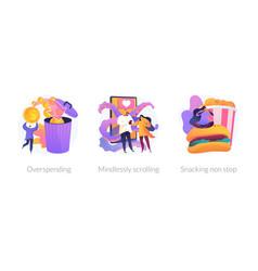 Bad habits concept metaphors vector