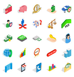 Bankrupt icons set isometric style vector