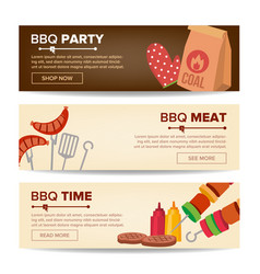 bbq horizontal promo banners barbecue web vector image