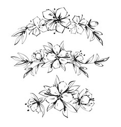 beautiful black and white inky bouquet flower and vector image