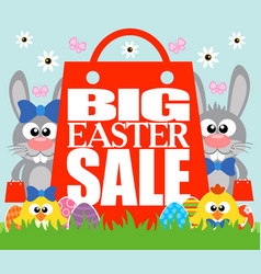 big easter sale card with funny chickens and rabbi vector image