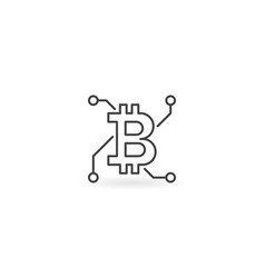 bitcoin abstract concept icon in thin line vector image