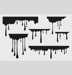 Black dripping stain liquid paint drop oil ink vector