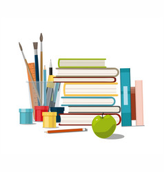 books painting paints brushes isolated on white vector image