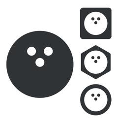 Bowling icon set monochrome vector