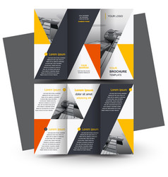 Brochure design template triangles yellow vector