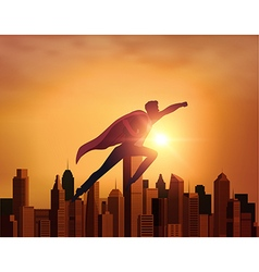Business Superhero with city vector