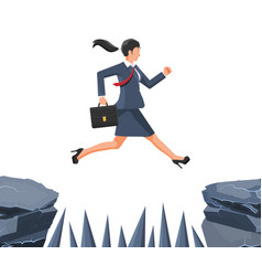 Businesswoman jumps to goal through abyss vector