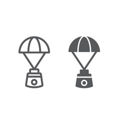 Capsule parachute line and glyph icon space vector