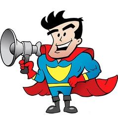 Cartoon of an Super Hero Talk in Megaphone vector image