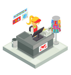 Cashier seller cashbox isometric shop stall vector