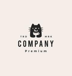 cat tea cup leaf drink hipster vintage logo icon vector image