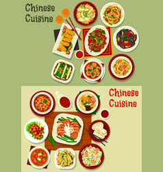Chinese and asian dishes seafood meat veggies vector