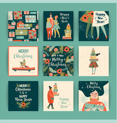 Christmas and happy new year templates trendy vector