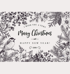 Christmas background with bird vector