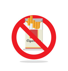 Cigarettes pack prohibition sign vector
