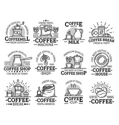 Coffeeshop and coffeehouse coffee cup line icons vector