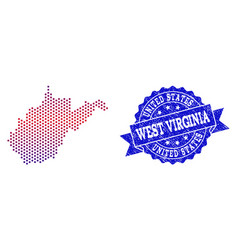 collage of gradiented dotted map of west virginia vector image