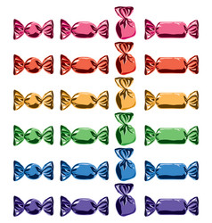 collection colorful wrapped candies vector image