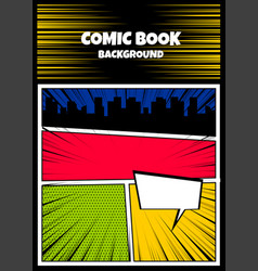 Color comics book cover vertical backdrop vector