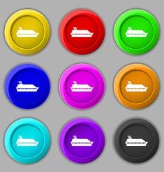 Cruise sea ship icon sign symbol on nine round vector