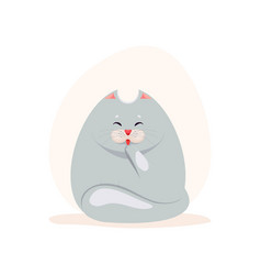 cute fatty grey cat washing the vector image