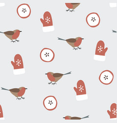 cute festive winter seamless pattern with hand vector image