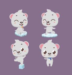 cute little polar bear character poses vector image