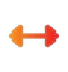 Dumbbell weights sign Orange applique isolated vector image