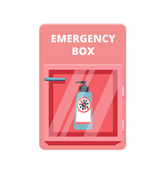 Emergency box with sanitized gel in red case of vector