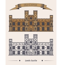 English Leeds castle palace facade exterior view vector